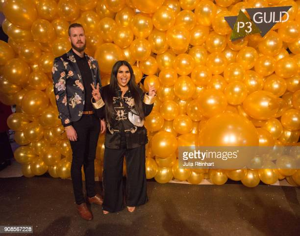 Aranxa Alvarez and Victor Linner arrive at the P3 Guld Gala Swedish Radio's celebration of the best in Swedish Music on January 20 2018 at Partille...