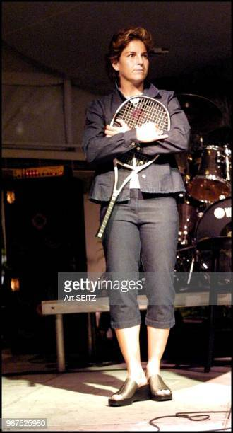Aranxta Sanchez Vicario on stage prior to a Blood Sweat and Tears Concert at the 2001 Ericsson Tennis site.