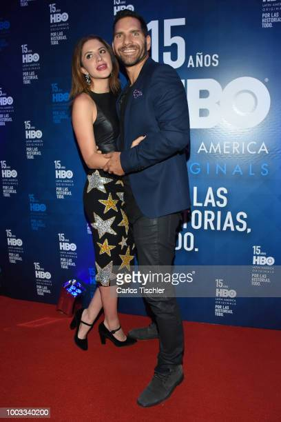 Arap Bethke and Ivana De Maria poses for photos during the red carpet of HBO Latin America 15 Years Celebration at Soumaya Museum on July 18 2018 in...
