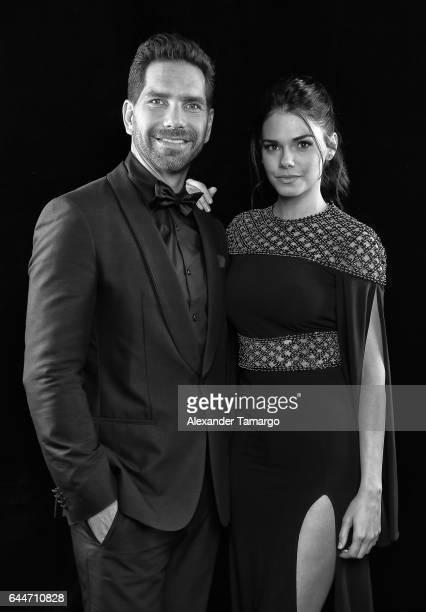 Arap Bethke and Livia Brito pose at Univision's 29th Edition of Premio Lo Nuestro A La Musica Latina at the American Airlines Arena on February 23...