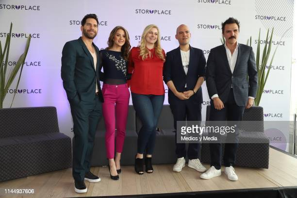 Arap Bethke Ivana De Maria MorenoValle Gina Diez Pedro Zurita and Billy Rovzar poses for photos during 'Story Place' App Launch on April 24 2019 in...