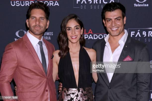 Arap Bethke Sandra Echeverria Andres Palacios poses for photos during a red carpet of premiere 'La Usurpadora' Tv Screening soap opera at Club de...