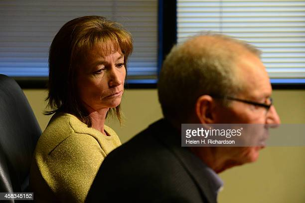 Arapahoe high school security guard Christina Kolk left sits with her attorney Dan Recht of Recht Kornfeld PC while speaking with members of the...
