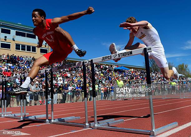 Arapahoe's Austin Lienemann right and Justice Taylor from Regis Jesuit clear the final hurdles in the 5A boys 110 Meter HurdlesThe third day of the...