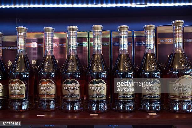ararat brandy in g.u.m market in yerevan, armenia - yerevan stock pictures, royalty-free photos & images