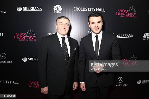 Aras Agalarov and Emin Agalarov attend the red carpet at Miss Universe Pageant Competition 2013 on November 9 2013 in Moscow Russia