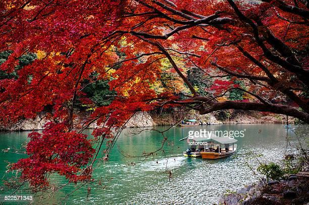 arashiyama in autumn in kyoto japan - arashiyama stock pictures, royalty-free photos & images