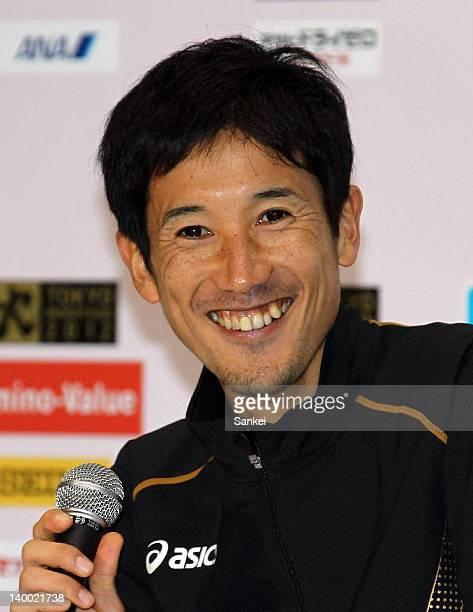 Arata Fujiwara of Japan smiles at the press conference during the Tokyo Marathon 2012 at Tokyo Big Sight on February 26 2012 in Tokyo Japan