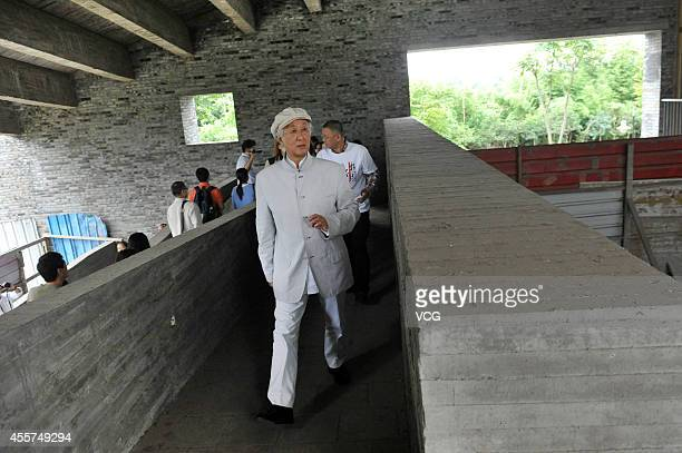 Arata Isozaki a Japanese architect who designed Jianchuan Museum and acknowledged Japanese War of Aggression against China visits Jianchuan Museum at...