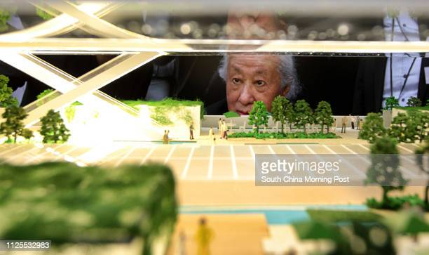 Arata Isozaki looks at a model of Central Oasis a revitalisation project on Central Market 24MAY13