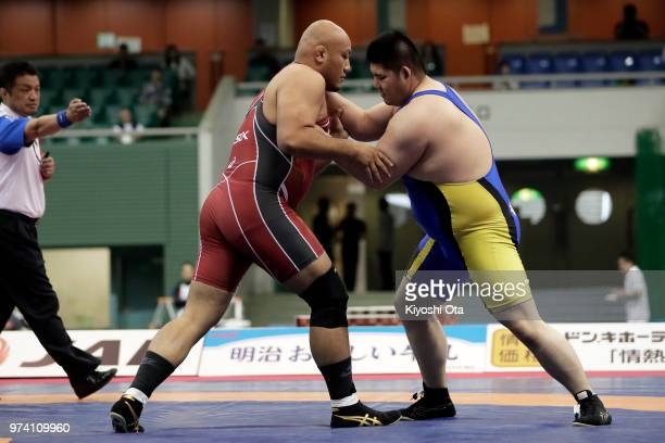 Arata Sonoda competes against Masahiro Tanida in the Men's GrecoRoman style 130kg final on day one of the All Japan Wrestling Invitational...