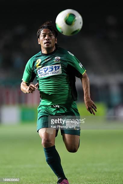 Arata Sugiyama of FC Gifu in action during the JLeague second division match between FC Gifu and Fagiano Okayama at Nagaragawa Stadium on June 2 2013...