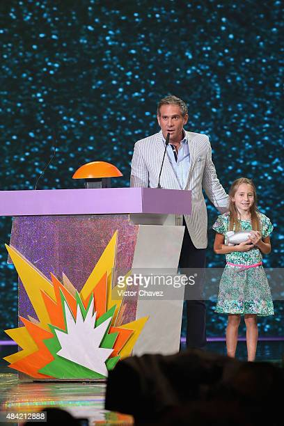 Arath de la Torre and Gala de la Torre speaks on stage during the Nickelodeon Kids' Choice Awards Mexico 2015 at Auditorio Nacional on August 15 2015...