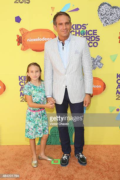 Arath de la Torre and his daughter arrive at Nickelodeon Kids' Choice Awards Mexico 2015 Red Carpet at Auditorio Nacional on August 15 2015 in Mexico...