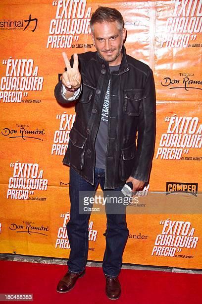 Arath De La Torre poses during the Red Carpet for the Premiere of the theatre play Exito a Cualquier Precio at Ignacio Lopez Tarso Theatre on...