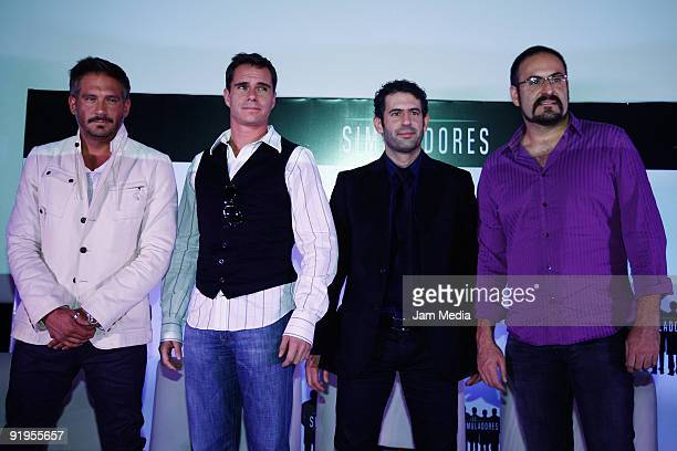 Arath de la Torre Tony Dalton Ruben Zamora and Alejandro Calva attend a press conference to present the second season of Los Simuladores TV show at...
