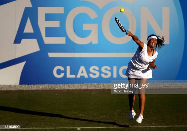 Aravane Rezai of France in action against Olga Govortsova of Belarus on day two of the AEGON Classic at Edgbaston Priory Club on June 7 2011 in...