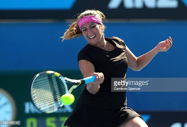 Aravane Rezai of France plays a forehand in her first round match against Shuai Peng of China during day one of the 2012 Australian Open at Melbourne...