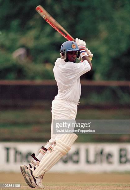 Aravinda de Silva batting for Sri Lanka during his innings of 127 runs in the 1st Test match against Pakistan at the Saravanamuttu Stadium in Colombo...