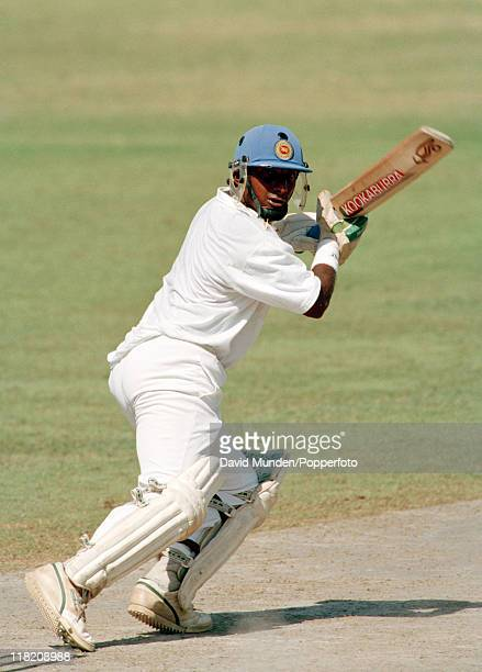 Aravinda De Silva batting for Sri Lanka during the Champions Trophy Tournament at Sharjah Stadium in the United Arab Emirates 1993