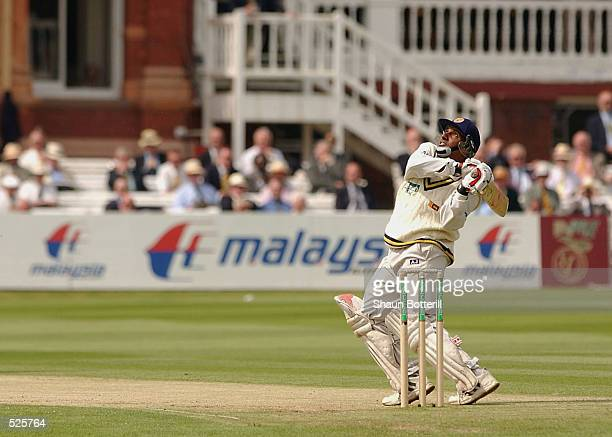 Aravinda de Silva of Sri Lanka attacks the England bowlers during the second day of the first Test Match between England and Sri Lanka at Lord's in...