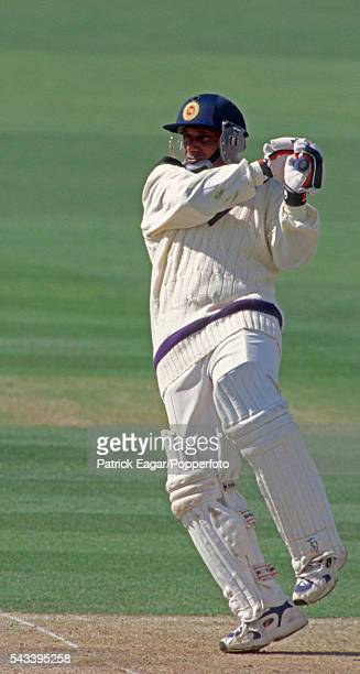 Aravinda de Silva of Sri Lanka batting for Rest of the World XI during the Princess of Wales Memorial match between Marylebone Cricket Club and Rest...