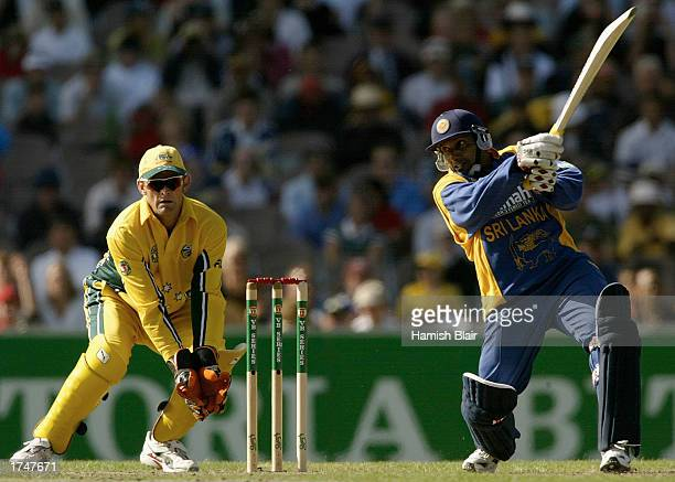 Aravinda de Silva of Sri Lanka hits out during the VB series One Day International match between Australia and Sri Lanka held at the Melbourne...