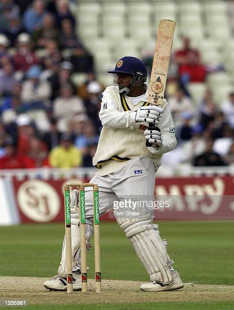 Aravinda de Silva of Sri Lanka in action during the 2nd Npower Test Match between England and Sri Lanka at Edgbaston in Birmingham on May 30 2002