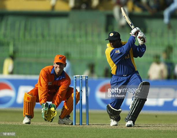 Aravinda de Silva of Sri Lanka in action during the ICC Champions Trophy match between Sri Lanka and Holland held on September 16 2002 at the...