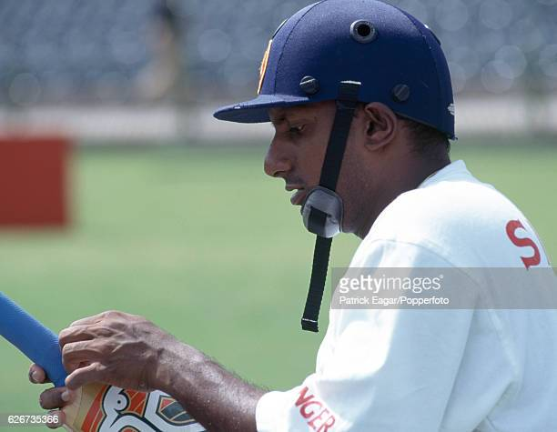 Aravinda de Silva of Sri Lanka preparing for the Wills World Cup Final between Australia and Sri Lanka at Gaddafi Stadium Lahore Pakistan 17th March...