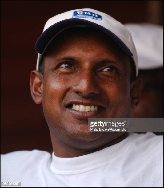 Aravinda de Silva of Sri Lanka takes part in a charity auction during a Bunbury Cricket Club cricket match at Ripley Surrey 10th August 2003