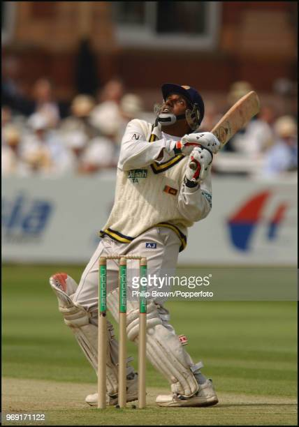 Aravinda de Silva of Sri Lanka watches the ball after a pull shot during the 1st Test match between England and Sri Lanka at Lord's Cricket Ground...