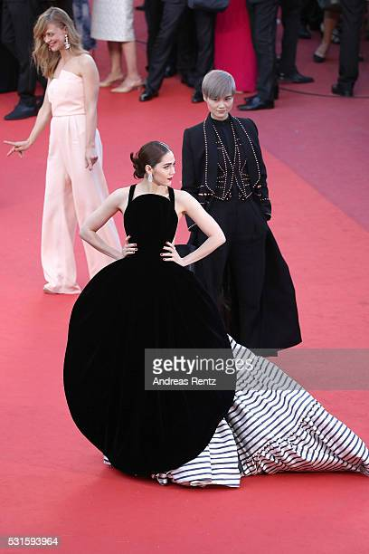 Araya A Hargate and Li Yuchun AKA Chris Lee attend the From The Land Of The Moon premiere during the 69th annual Cannes Film Festival at the Palais...