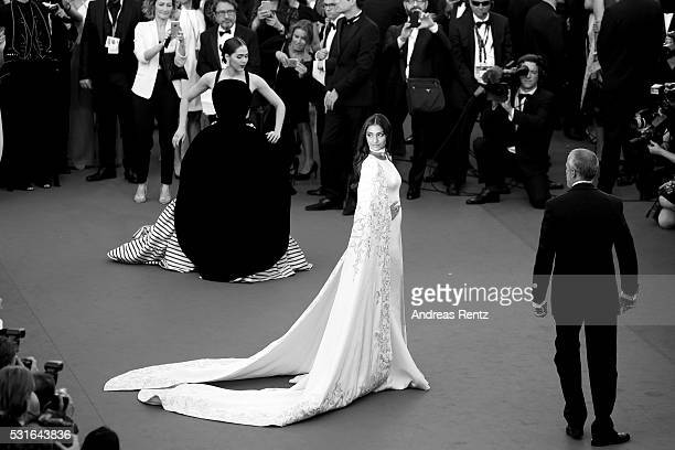 Araya A Hargate and Sonam Kapoor attend the From The Land Of The Moon premiere during the 69th annual Cannes Film Festival at the Palais des...