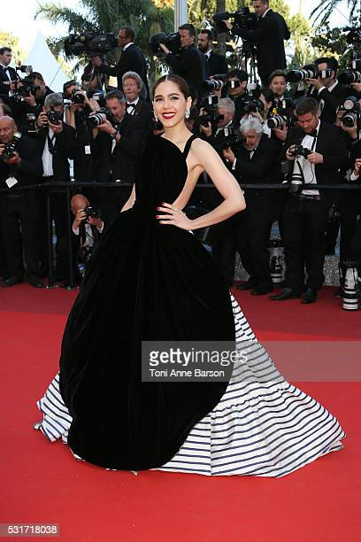 Araya A Hargate attends a screening of From The Land And The Moon at the annual 69th Cannes Film Festival at Palais des Festivals on May 15 2016 in...
