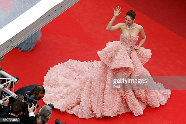 Araya A Hargate attends the 'Cafe Society' premiere and the Opening Night Gala during the 69th annual Cannes Film Festival at the Palais des...