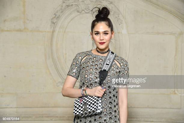 Araya A Hargate attends the Christian Dior show as part of the Paris Fashion Week Womenswear Fall/Winter 2018/2019 on February 27 2018 in Paris France