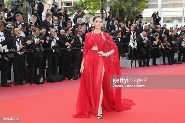 Araya A Hargate attends the screening of 'Everybody Knows ' and the opening gala during the 71st annual Cannes Film Festival at Palais des Festivals...