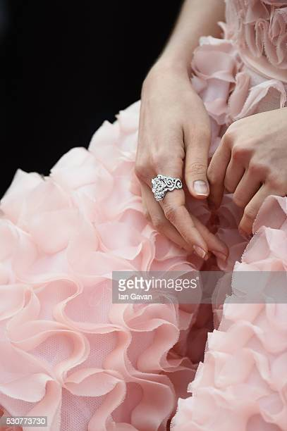 Araya A Hargate fashion detail attends the Cafe Society premiere and the Opening Night Gala during the 69th annual Cannes Film Festival at the Palais...
