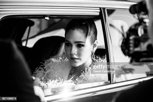 Araya A Hargate is seen leaving the Martinez Hotel ahead of the 'Ash Is The Purest White ' during the 71st annual Cannes Film Festival at on May 11...