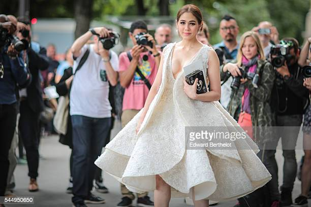 Araya Alberta Hargate is seen after the Giambattista Valli show during Paris Fashion Week Haute Couture F/W 2016/2017 on July 4 2016 in Paris France