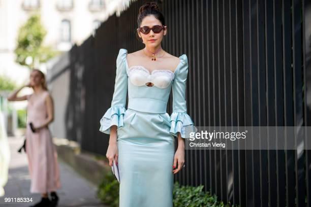 Araya Alberta Hargate is seen outside Ulyana Sergeenko on day three during Paris Fashion Week Haute Couture FW18 on July 2 2018 in Paris France