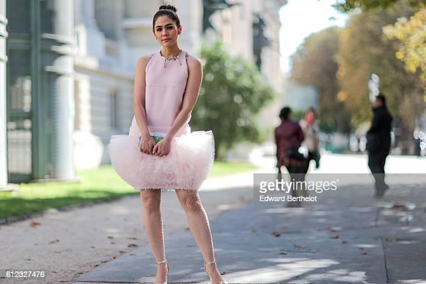 Araya Alberta Hargate wears a pink tutu dress outside of the Giambattista Valli show during Paris Fashion Week Spring Summer 2017 at Grand Palais on...