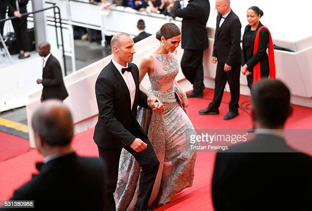 Araya Hargate and a guest attend the The BFG Premiere during the annual 69th Cannes Film Festival at the Palais des Festivals on May 14 2016 in...