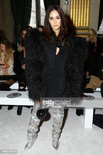 Araya Hargate attends the Balmain show as part of the Paris Fashion Week Womenswear Fall/Winter 2018/2019 on March 2 2018 in Paris France