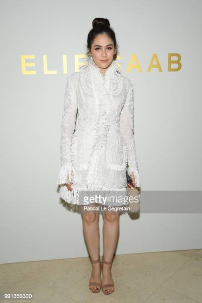 Araya Hargate attends the Elie Saab Haute Couture Fall Winter 2018/2019 show as part of Paris Fashion Week on July 4 2018 in Paris France