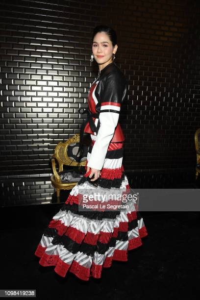 Araya Hargate attends the JeanPaul Gaultier Haute Couture Spring Summer 2019 show as part of Paris Fashion Week on January 23 2019 in Paris France