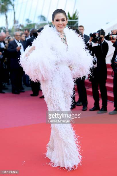 Araya Hargate attends the screening of Ash Is The Purest White during the 71st annual Cannes Film Festival at Palais des Festivals on May 11 2018 in...
