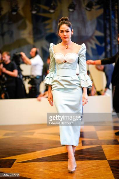 Araya Hargate attends the Ulyana Sergeenko Haute Couture Fall Winter 2018/2019 show as part of Paris Fashion Week on July 3 2018 in Paris France