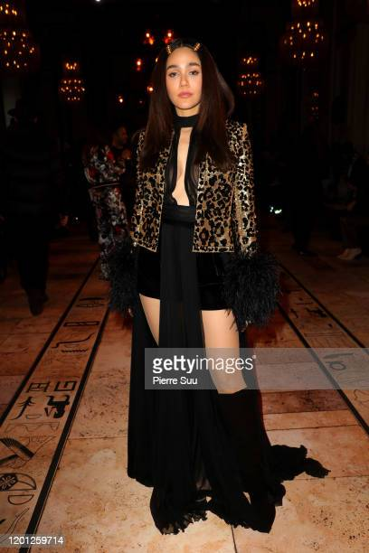 Araya Hargate attends the Zuhair Murad Haute Couture Spring/Summer 2020 show as part of Paris Fashion Week on January 22 2020 in Paris France